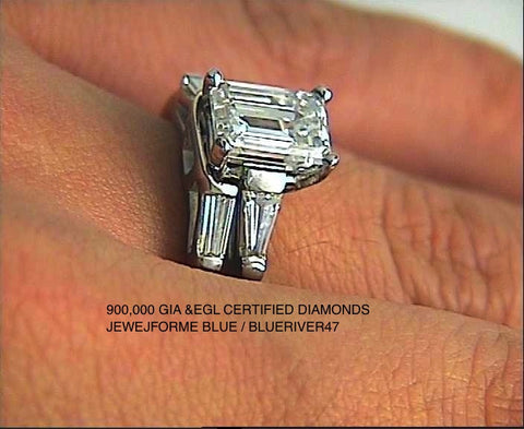 1.30ct Emerald cut Diamond Engagement Platinum Rings and wedding Ring JEWELFORME BLUE 900,000 GIA CERTIFIED diamonds