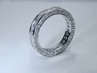 2.17ct Princess diamond Eternity Wedding Ring Band 18kt JEWELFORME BLUE