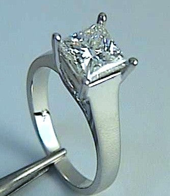 3.00ct E-SI2 Princess Cut Diamond Engagement Ring GIA certified JEWELFORME BLUE