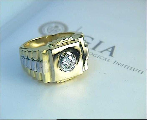 0.98ct Mens Rolex Diamond Ring 18kt Yellow & White Gold  JEWELFORME BLUE