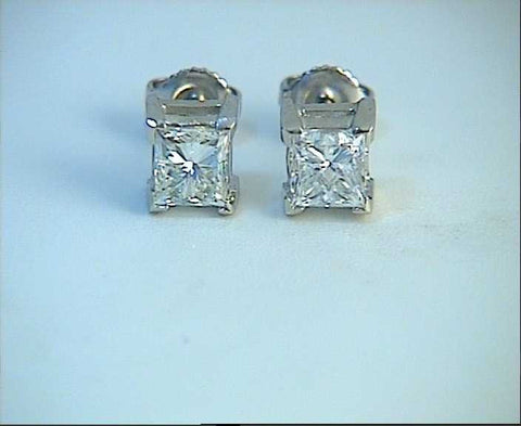 1.21ct Princess Diamond Earrings studs 18kt white Gold JEWELFORME BLUE 900,000 GIA EGL certified diamonds