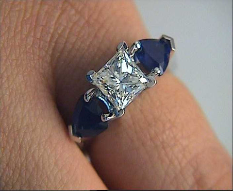 3.04ct Princess Cut Diamond and Sapphire Engagement Ring 18kt white gold JEWELFORME BLUE