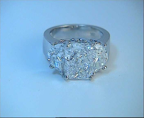 4.02ct Radiant Cut Diamond Engagement Ring Half Moon GIA certified JEWELFORME BLUE