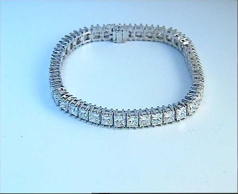 10.90ct Princess Cut Diamond Bracelet 18kt white gold JEWELFORME BLUE