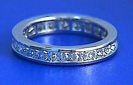 1.96ct Princess diamond Eternity Wedding Ring Band Platinum JEWELFORME BLUE