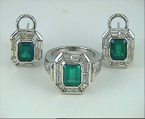 10.20ct Diamond Emerald Ring and Diamond Emerald Earrings matching set JEWELFORME BLUE