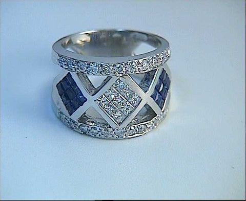 2.28ct Diamond Sapphire Wedding Ring 18kt JEWELFORME BLUE