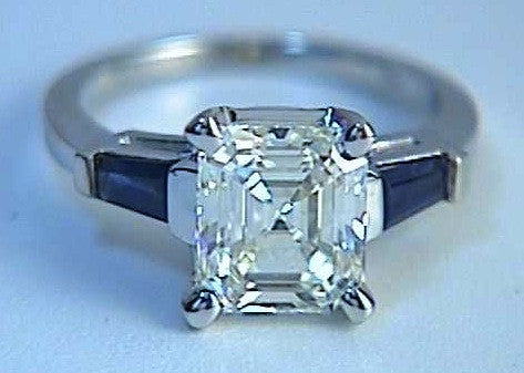 3.02ct Asscher Cut Diamond Engagement Ring GIA certified  JEWELFORME BLUE