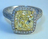 6.12ct Cushion Fancy Yellow Diamond Engagement Ring 18kt GIA CERTIFIED JEWELFORME BLUE Anniversary Birthday bridal