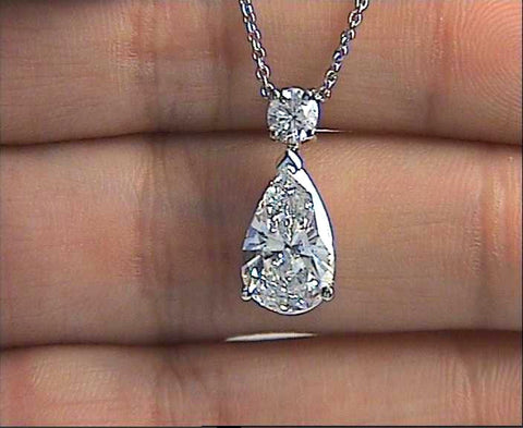 1.79ct E-SI2 Pear Shape Diamond Pendant Necklace  JEWELFORME BLUE