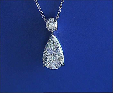 3.30ct Pear Shape Diamond Pendant Necklace GIA certified JEWELFORME BLUE