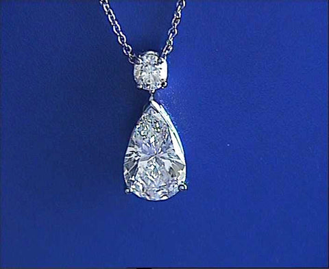 2.20ct G-VS2 Pear Shape Diamond Pendant Necklace GIA certified JEWELFORME BLUE
