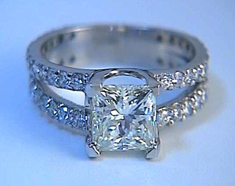 2.20ct J-VS2 GIA Princess Diamond Engagement Ring 18kt JEWELFORME BLUE GIA certified