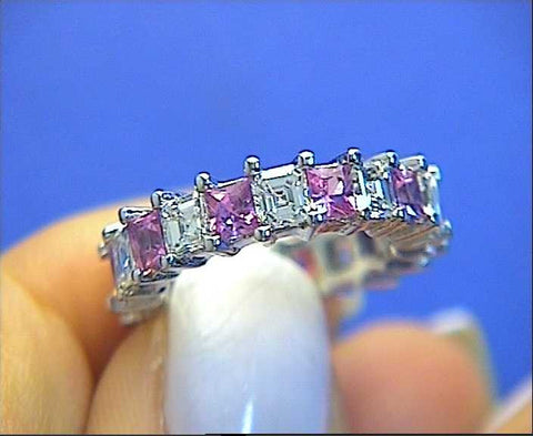 6.10ct Asscher Cut Diamond Pink Sapphire Eternity Ring 18kt White Gold JEWELFORME BLUE