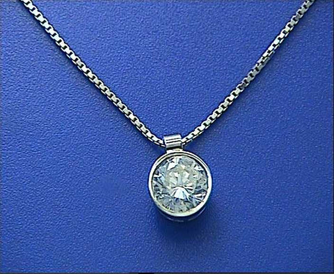 1.20ct G-VS1 Round Diamond Pendant 18kt White Gold EGL certified JEWELFORME BLUE