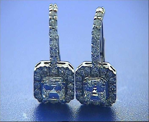 3.40ct Asscher Cut Diamond Earrings 18kt GIA certified JEWELFORME BLUE