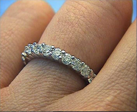 3.04ct Round Diamonds Eternity Wedding Ring Platinum JEWELFORME BLUE