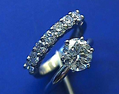 1.49ct E-IF Round Diamond Engagement & Wedding Ring 18kt White Gold JEWELFORME BLUE