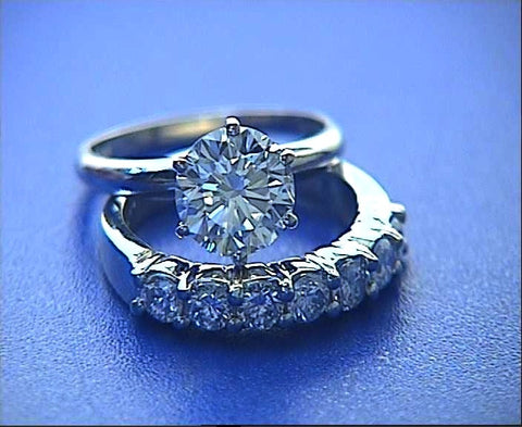 1.49ct Round Diamond Engagement & Wedding Ring 18kt White Gold JEWELFORME BLUE