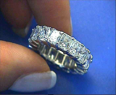 7.10ct Radiant Cut Diamond Eternity Ring JEWELFORME BLUE
