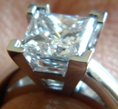 1.00ct Princess cut Diamond Engagement ring 18kt JEWELFORME BLUE
