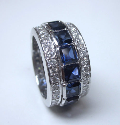7.06ct Diamond Sapphire Eternity Wedding Ring Platinum JEWELFORME BLUE