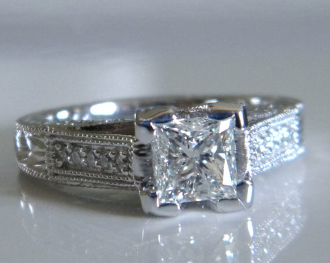 1.51ct H-VS2 Princess Diamond Engagement Ring 18kt White Gold JEWELFORME BLUE