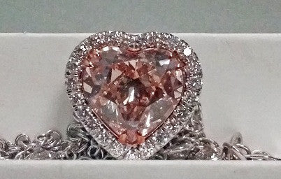 7.33ct PINK DIAMOND Heart Shape Necklace 18kt JEWELFORME BLUE GIA CERTIFIED