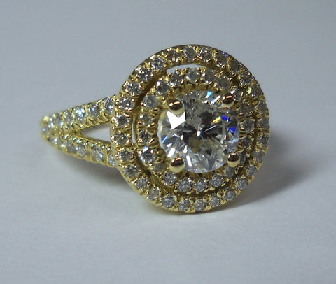 1.56ct Round Diamond Engagement Ring 18kt Yellow Gold Double Halo GIA certified JEWELFORME BLUE