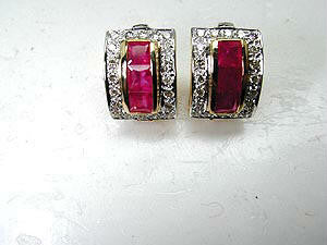 1.78ct Ruby and Diamond Earrings 14kt yellow gold JEWELFORME BLUE