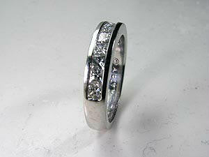 1.20ct Princess diamond Eternity Wedding Ring Band 18kt JEWELFORME BLUE