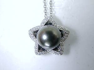 0.34ct Black pearl Diamond Pendant Necklace JEWELFORME BLUE 18kt white Gold
