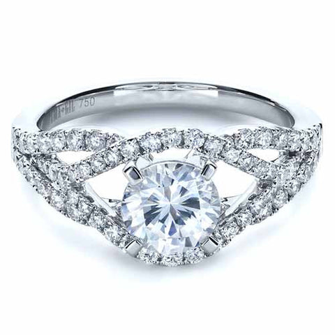 1.82ct F-VS1 Round Diamond Halo Engagement Ring Platinum JEWELFORME BLUE