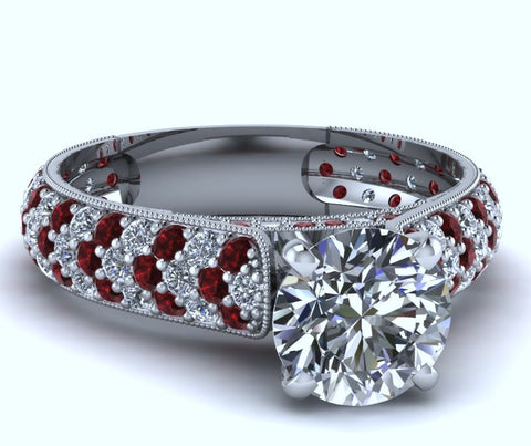2.23ct Round Diamond and Rubies Engagement Ring 18kt  JEWELFORME BLUE
