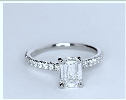 1.27ct Emerald cut diamond Engagement Ring GIA certified I-VS1 Platinum BLUERIVER4747