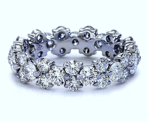 5.30ct Platinum Garland Round Diamond Wedding Band Eternity Ring JEWELFORME BLUE