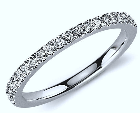 0.48ct Round Diamond Wedding Ring 18kt White Gold JEWELFORME BLUE
