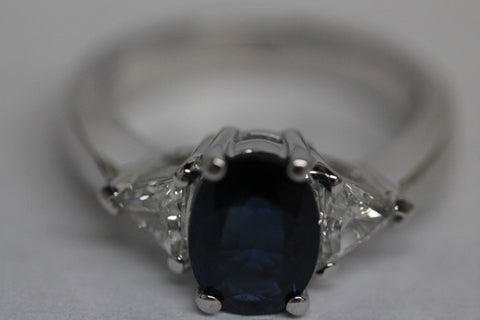 2.38ct Oval Sapphire Diamond Engagement Ring JEWELFORME BLUE
