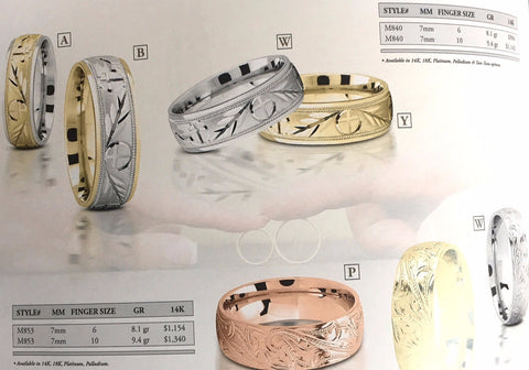 Engraved Wedding Ring-Band 14kt & 18kt Pink Gold JEWELFORME BLUE M853