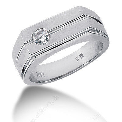 0.52ct Round Diamond Men's Solitaire Wedding Ring 14kt White Gold GIA certified JEWELFORME BLUE