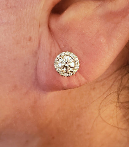18kt Round diamonds 2.00ct G VS Round Cut Diamond Studs Earrings Martini Halo JEWELFORME BLUE 900,000  certified diamonds