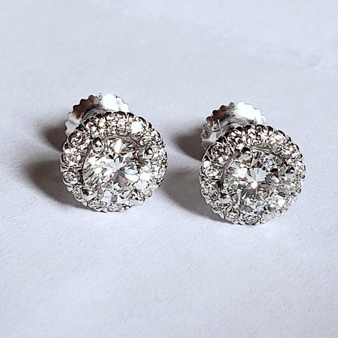 18kt Round diamonds 1.65ct G VS Round Cut Diamond Studs Earrings Martini Halo JEWELFORME BLUE 900,000  certified diamonds