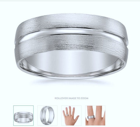 18K White Gold 8mm Comfort-Fit Satin-Finished Design Band