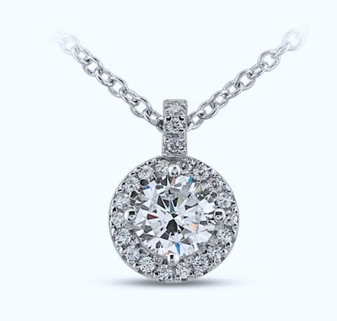 18kt Round 0.85ct Halo Round Diamonds Pendant Necklace 18kt White Gold G VS2