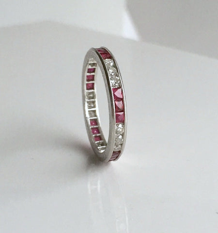 1.40ct Platinum Ruby & Diamond Eternity Wedding Ring JEWELFORME BLUE