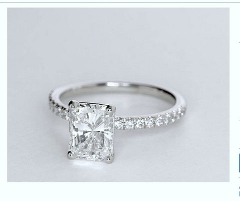 1.26ct Radiant Cut Diamond Engagement Ring H-Si1  BLUERIVER4747 GIA certified