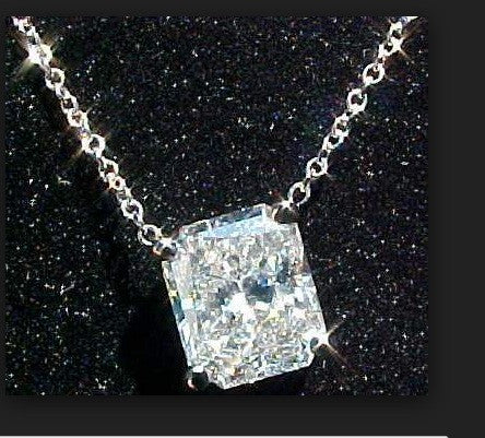 1.50ct H-VS1 Radiant Diamond Pendant 18kt White Gold GIA certified JEWELFORME BLUE
