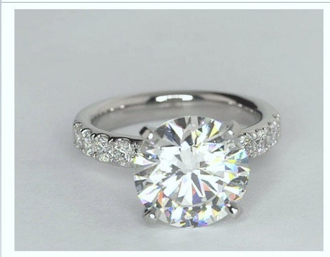4.82ct F-VS2 Platinum Round Diamond Engagement Ring JEWELFORME BLUE GIA certified