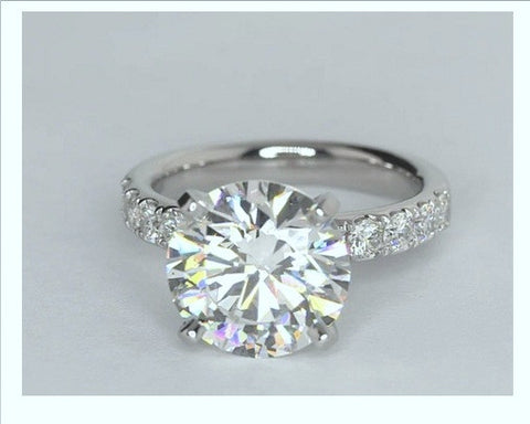 5.80ct I-SI2 Platinum Round Diamond Engagement Ring JEWELFORME BLUE GIA certified