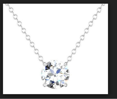 1.24ct J-VS2 Round Diamond Pendant 18kt White Gold GIA certified JEWELFORME BLUE